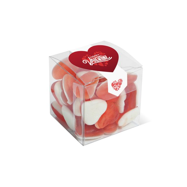 Valentines – Clear Cube – Haribo Heart Throbs