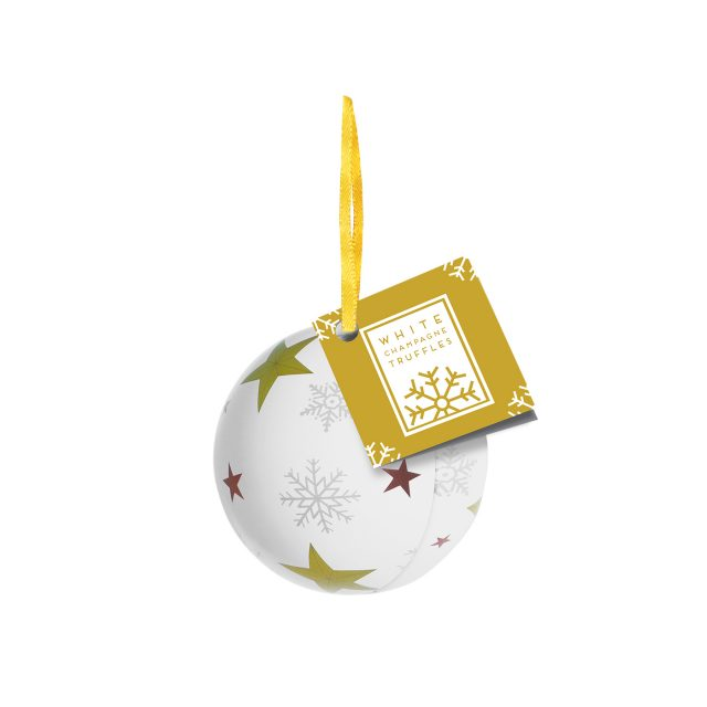 Winter Collection – Bauble Tin – White Champagne Chocolate Truffles