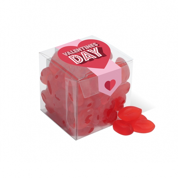 Valentines – Clear Cube – Red Lips