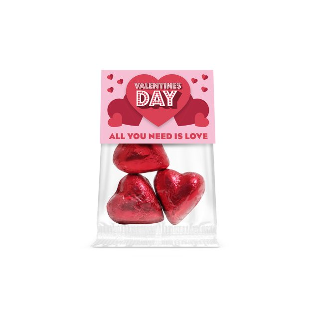 Valentines – Eco Info Card – Red Foiled Praline Hearts