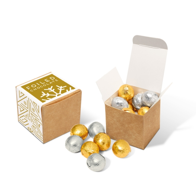 Winter Collection – Eco Kraft Cube – Foiled Chocolate Balls