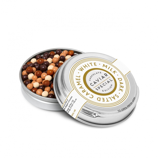 Caviar Tin – Chocolate Pearls – Silver