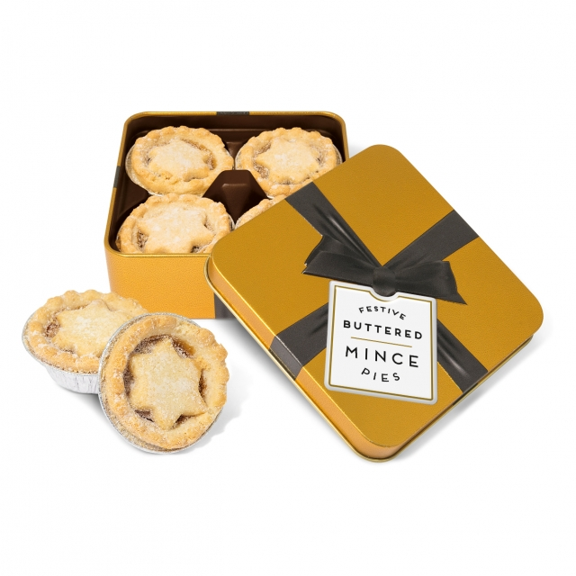 Winter Collection – Small Gold Square Tin – Mince Pies