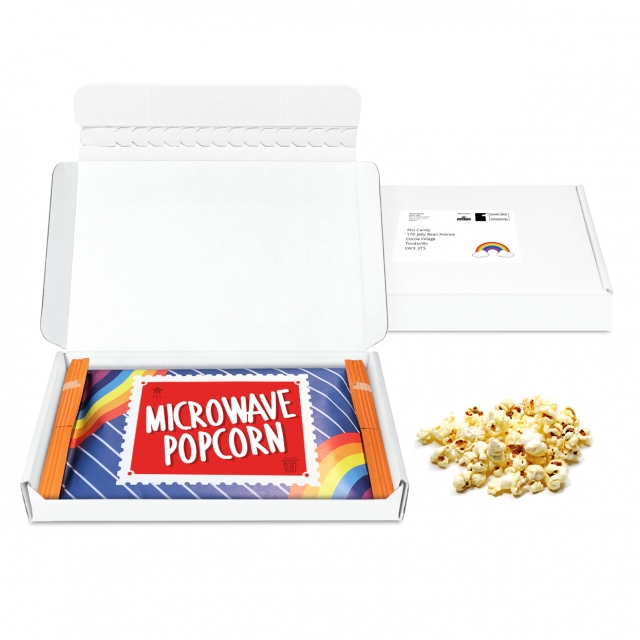 Postal Packs – Mini White Postal Box – Microwave Popcorn – Microwave Popcorn DP